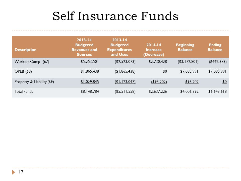 Self Insurance Funds 17 Description Budgeted Revenues and Sources Budgeted Expenditures and Uses Increase (Decrease) Beginning Balance Ending Balance Workers Comp (67)$5,253,501($2,523,073)$2,730,428($3,172,801)($442,373) OPEB (68)$1,865,438($1,865,438)$0$7,085,991 Property & Liability (69)$1,029,845($1,123,047)($93,202)$93,202$0 Total Funds$8,148,784($5,511,558)$2,637,226$4,006,392$6,643,618