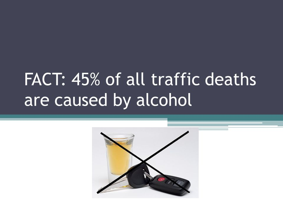 FACT: 45% of all traffic deaths are caused by alcohol