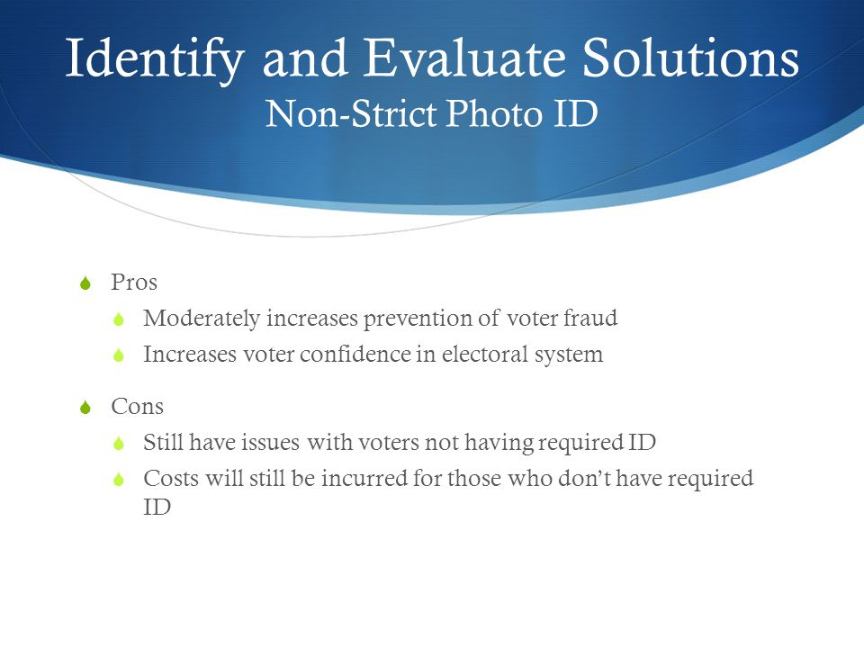 Pros and cons of voter ids