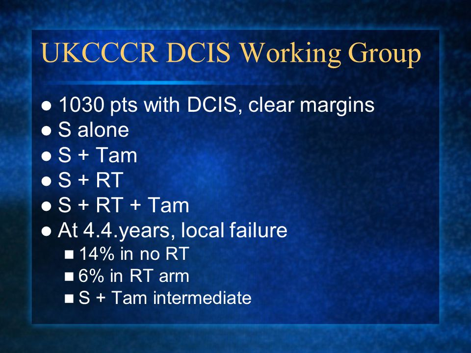 UKCCCR DCIS Working Group 1030 pts with DCIS, clear margins S alone S + Tam S + RT S + RT + Tam At 4.4.years, local failure 14% in no RT 6% in RT arm S + Tam intermediate
