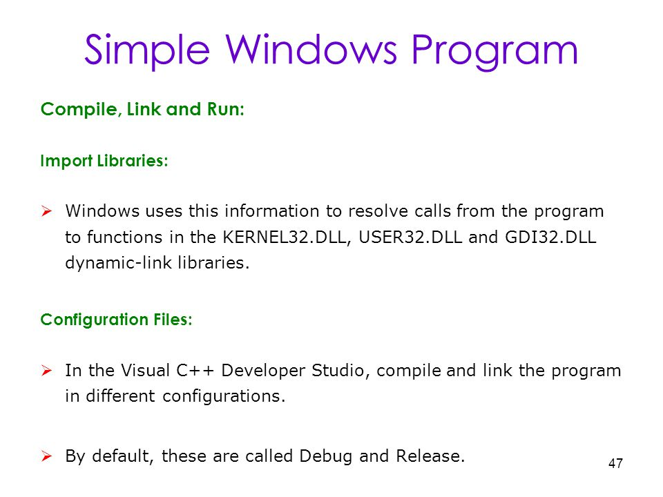 1 Cs1253 Visual Programming Unit I Windows Programming Windows Environment A Simple Windows Program Windows And Messages Creating The Window Displaying Ppt Download
