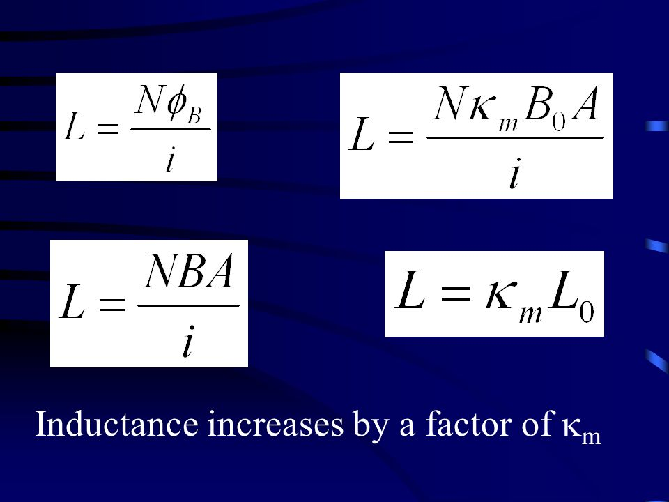 Inductance increases by a factor of  m