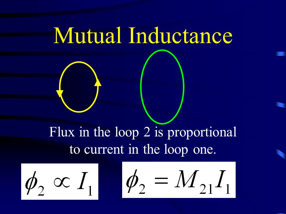 Mutual Inductance Flux in the loop 2 is proportional to current in the loop one.