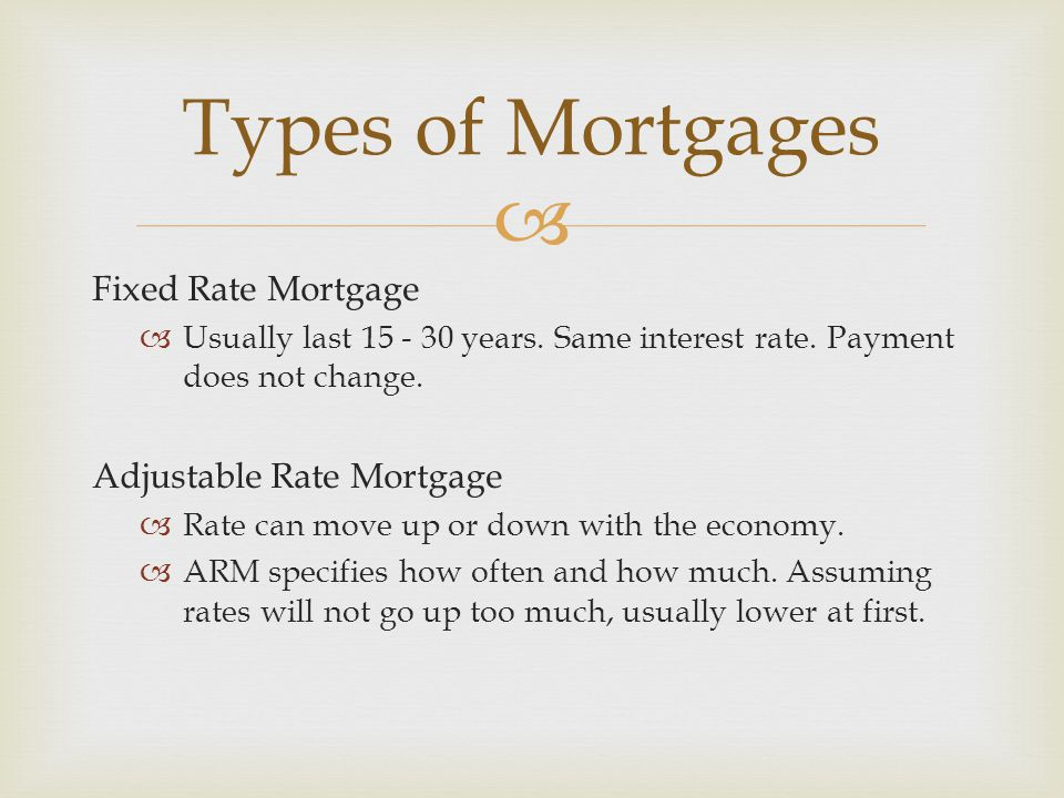  Fixed Rate Mortgage  Usually last years.