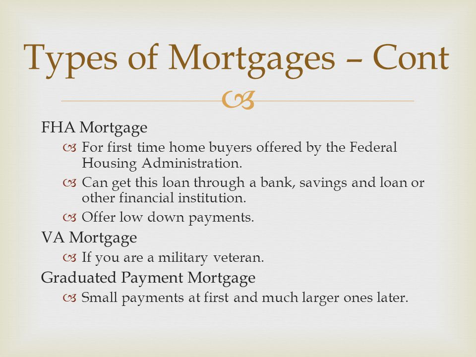  FHA Mortgage  For first time home buyers offered by the Federal Housing Administration.