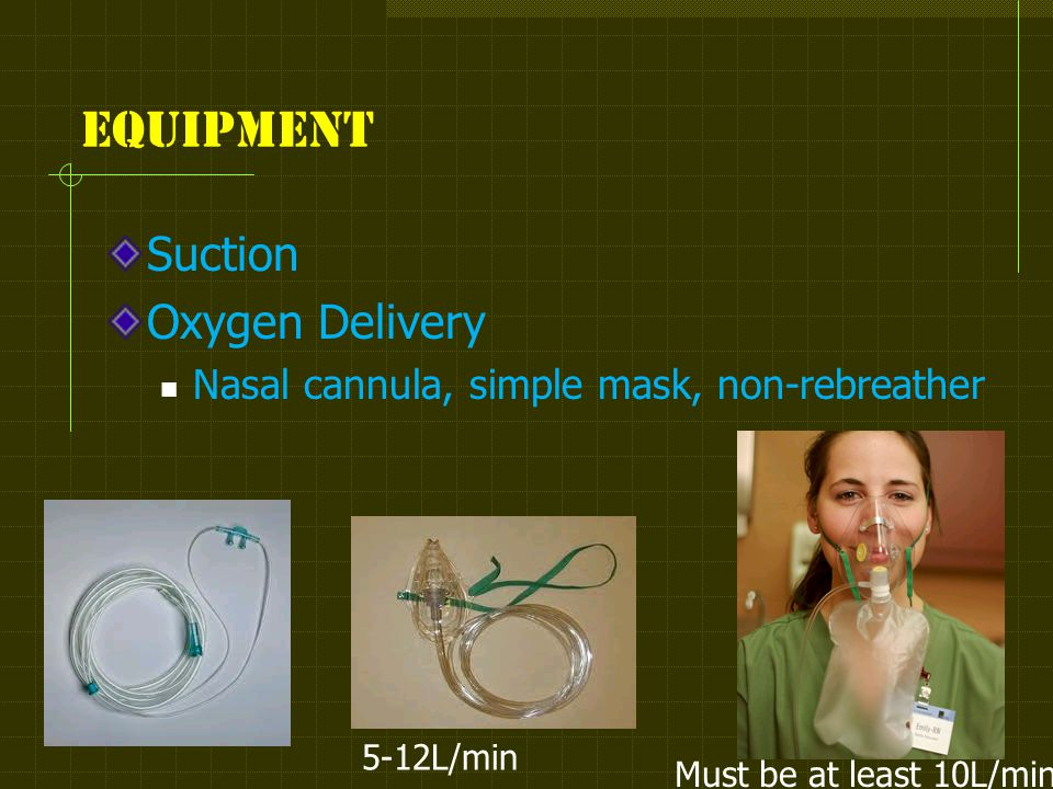 Equipment Suction Oxygen Delivery Nasal cannula, simple mask, non-rebreather Must be at least 10L/min 5-12L/min