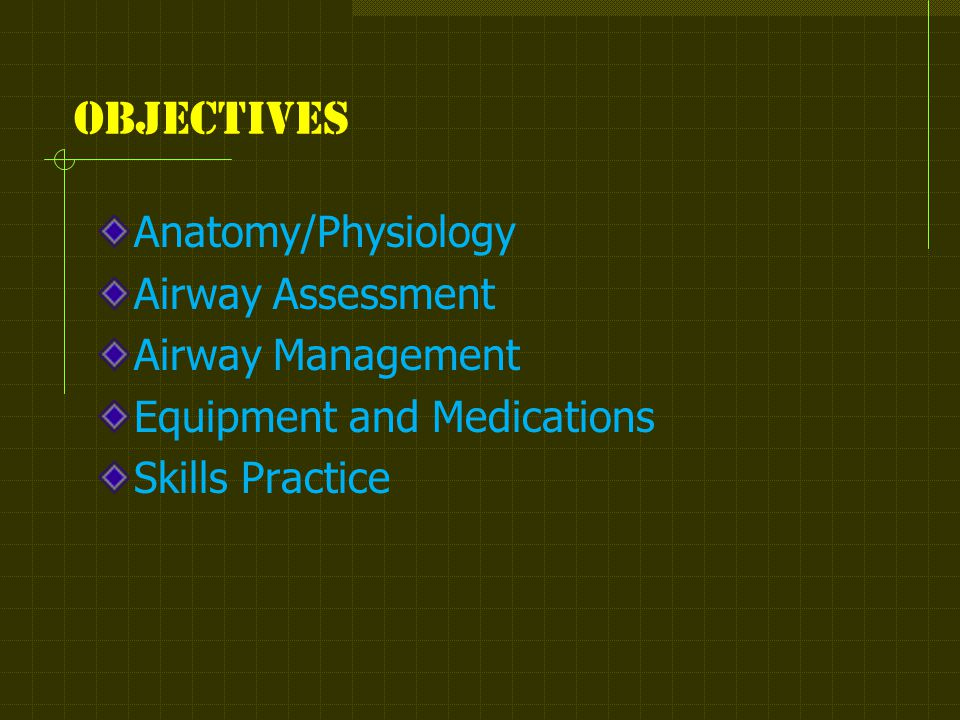 Objectives Anatomy/Physiology Airway Assessment Airway Management Equipment and Medications Skills Practice