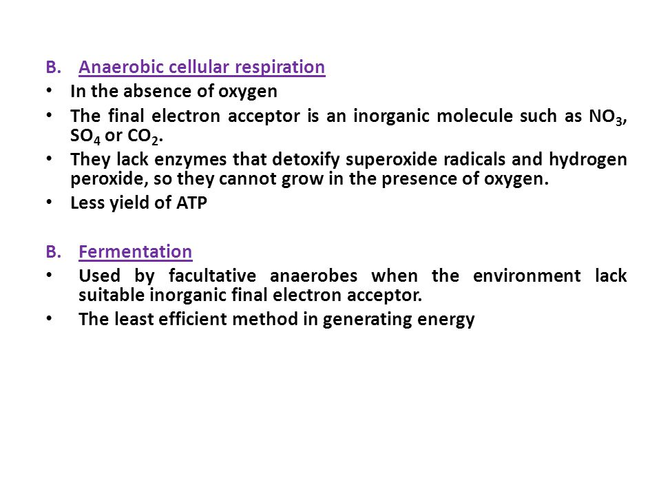 B.Anaerobic cellular respiration In the absence of oxygen The final electron acceptor is an inorganic molecule such as NO 3, SO 4 or CO 2.