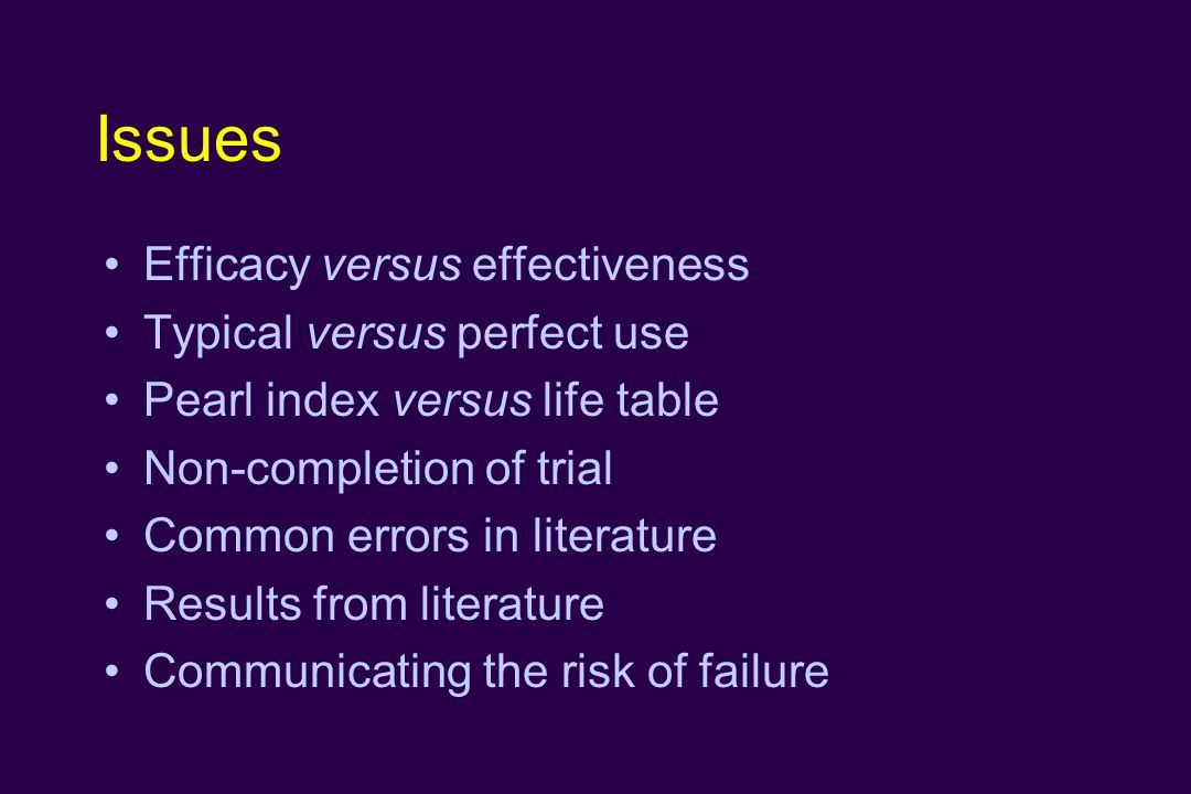 Issues Efficacy versus effectiveness Typical versus perfect use Pearl index versus life table Non-completion of trial Common errors in literature Results from literature Communicating the risk of failure