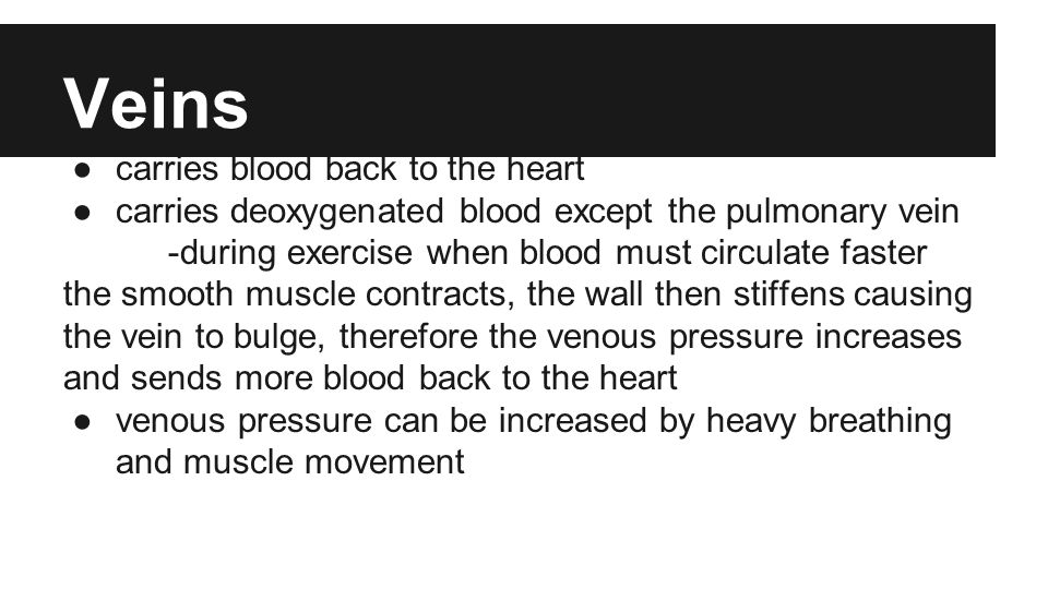 Veins ●carries blood back to the heart ●carries deoxygenated blood except the pulmonary vein -during exercise when blood must circulate faster the smooth muscle contracts, the wall then stiffens causing the vein to bulge, therefore the venous pressure increases and sends more blood back to the heart ●venous pressure can be increased by heavy breathing and muscle movement
