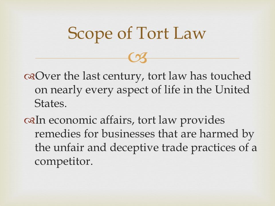   Over the last century, tort law has touched on nearly every aspect of life in the United States.
