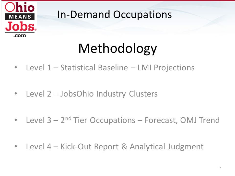 Methodology Level 1 – Statistical Baseline – LMI Projections Level 2 – JobsOhio Industry Clusters Level 3 – 2 nd Tier Occupations – Forecast, OMJ Trend Level 4 – Kick-Out Report & Analytical Judgment In-Demand Occupations 7