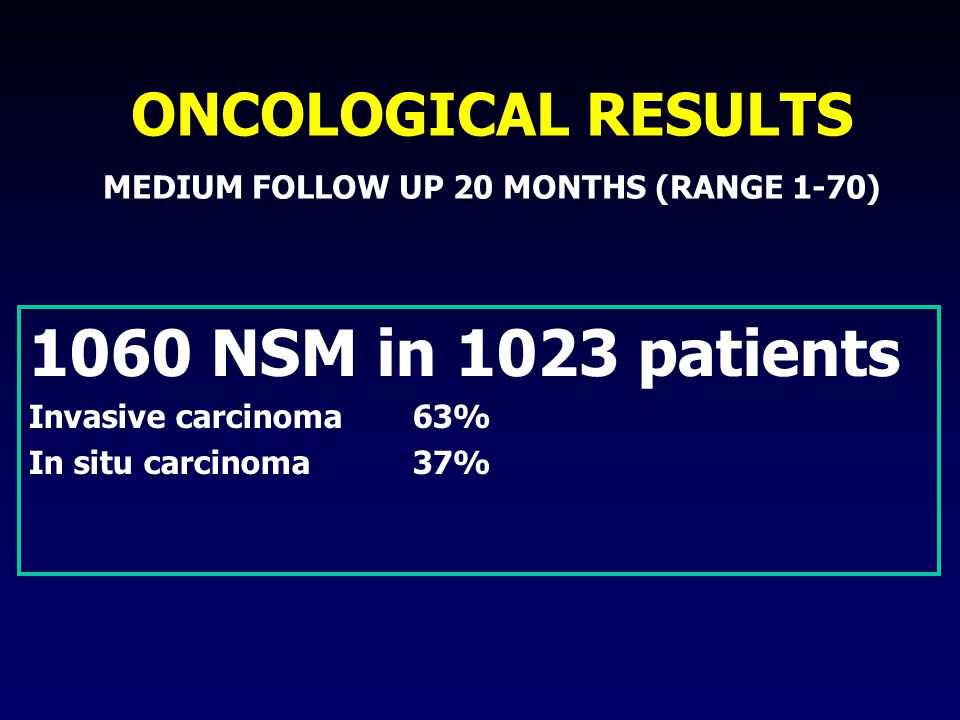 1060 NSM in 1023 patients Invasive carcinoma 63% In situ carcinoma 37% ONCOLOGICAL RESULTS MEDIUM FOLLOW UP 20 MONTHS (RANGE 1-70)