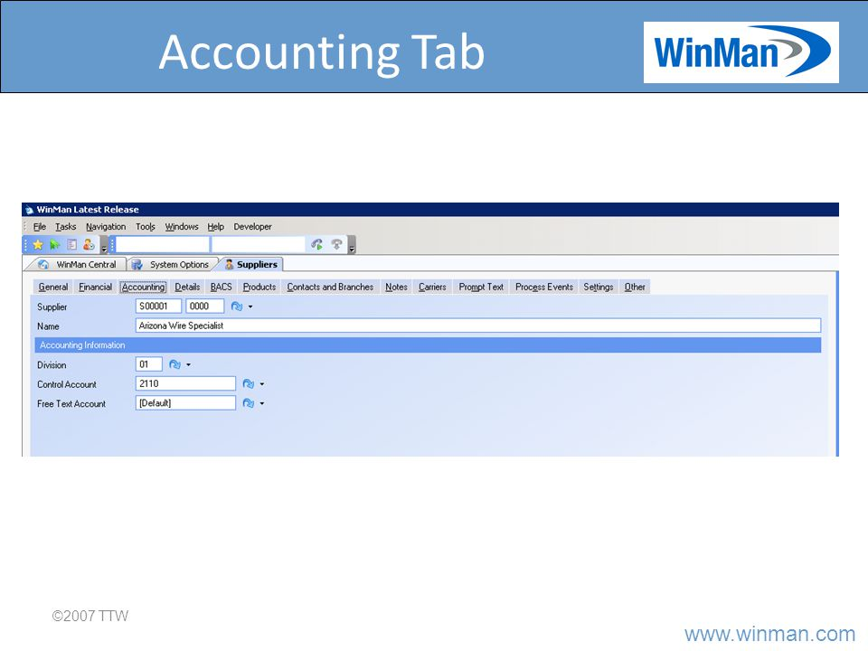 Accounting Tab ©2007 TTW