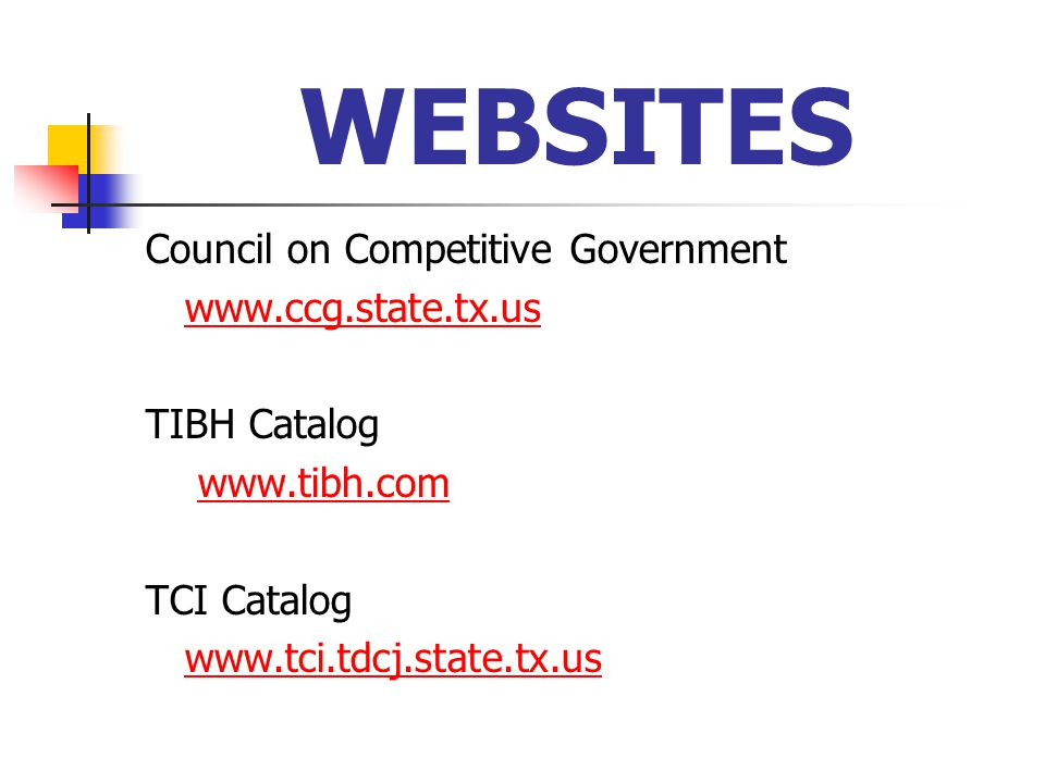 WEBSITES Council on Competitive Government   TIBH Catalog   TCI Catalog