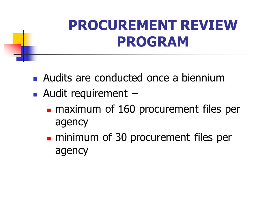 PROCUREMENT REVIEW PROGRAM Audits are conducted once a biennium Audit requirement – maximum of 160 procurement files per agency minimum of 30 procurement files per agency