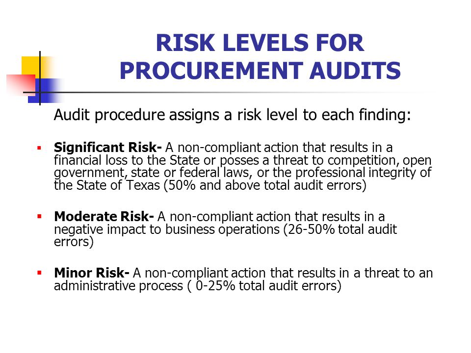 RISK LEVELS FOR PROCUREMENT AUDITS Audit procedure assigns a risk level to each finding:  Significant Risk- A non-compliant action that results in a financial loss to the State or posses a threat to competition, open government, state or federal laws, or the professional integrity of the State of Texas (50% and above total audit errors)  Moderate Risk- A non-compliant action that results in a negative impact to business operations (26-50% total audit errors)  Minor Risk- A non-compliant action that results in a threat to an administrative process ( 0-25% total audit errors)