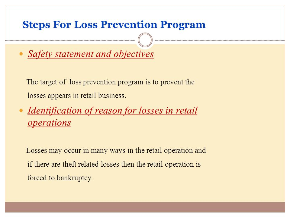 loss prevention plan template