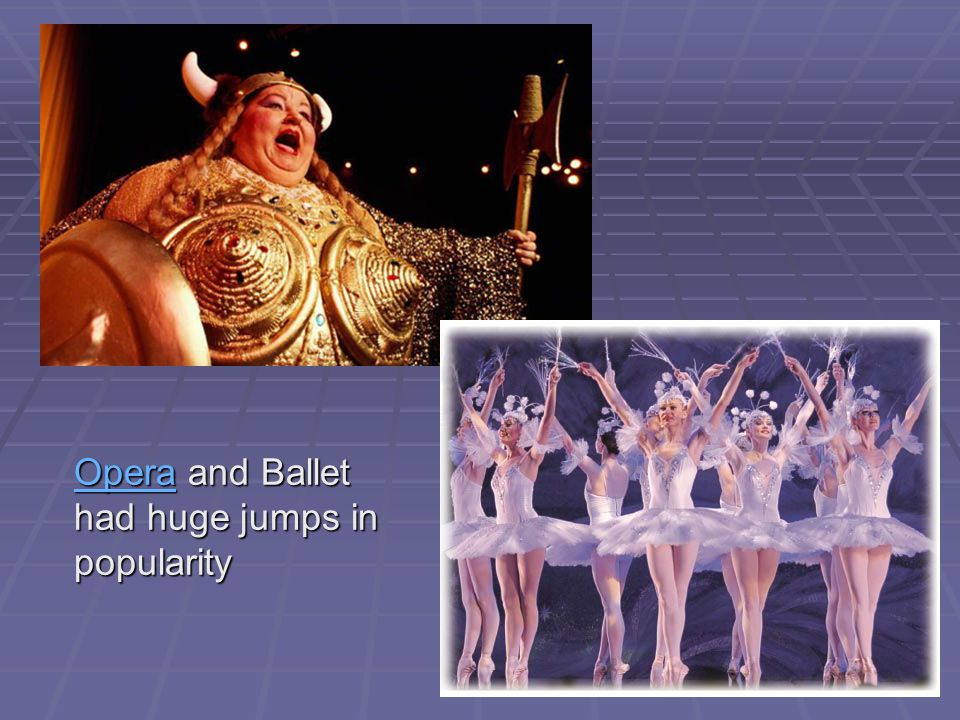 OperaOpera and Ballet had huge jumps in popularity Opera