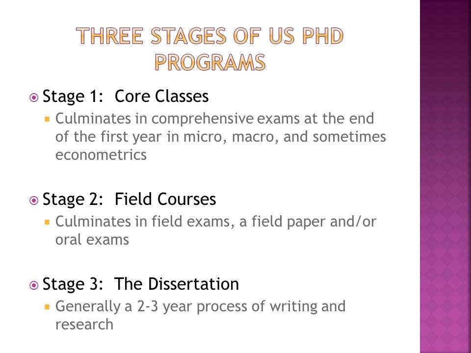  Stage 1: Core Classes  Culminates in comprehensive exams at the end of the first year in micro, macro, and sometimes econometrics  Stage 2: Field Courses  Culminates in field exams, a field paper and/or oral exams  Stage 3: The Dissertation  Generally a 2-3 year process of writing and research