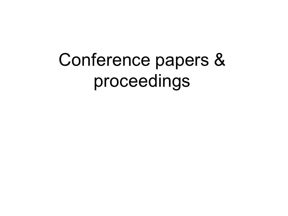 Conference papers & proceedings