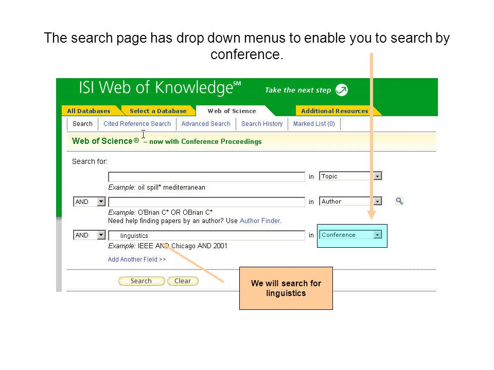 The search page has drop down menus to enable you to search by conference.