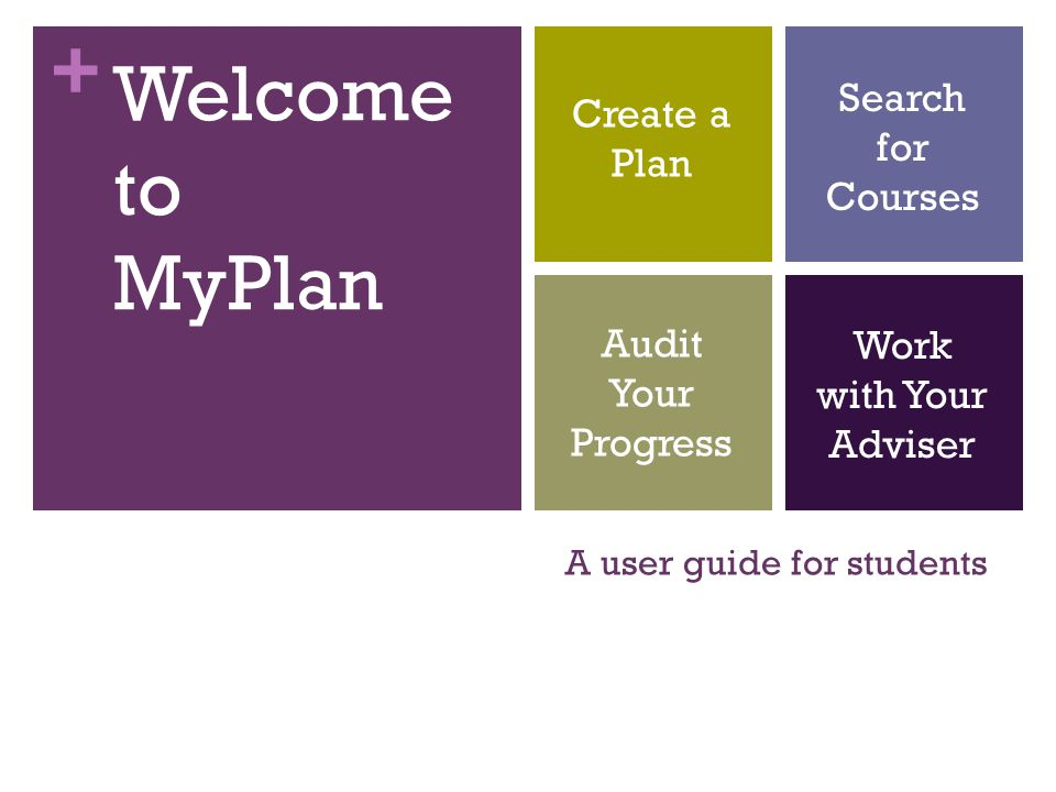 + A user guide for students Welcome to MyPlan Create a Plan Audit Your Progress Search for Courses Work with Your Adviser