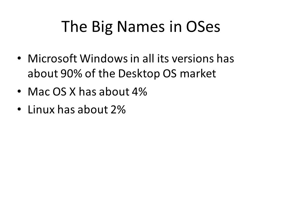 The Big Names in OSes Microsoft Windows in all its versions has about 90% of the Desktop OS market Mac OS X has about 4% Linux has about 2%