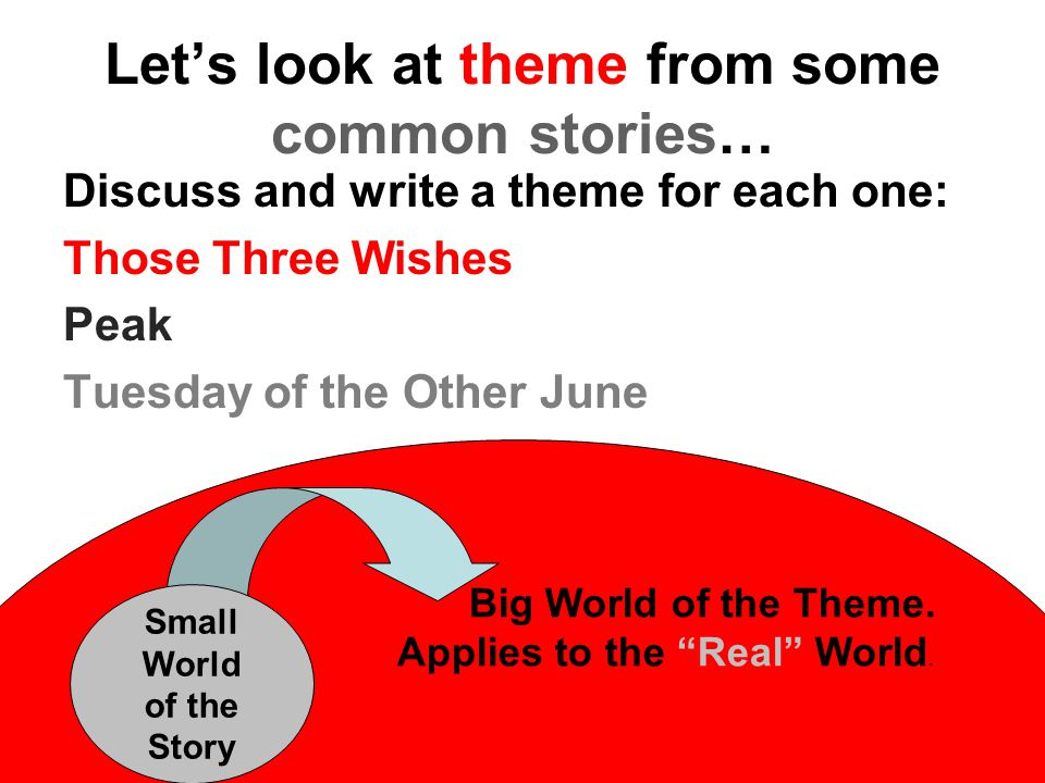 Let's look at theme from some common stories… Discuss and write a theme for each one: Those Three Wishes Peak Tuesday of the Other June Big World of the Theme.