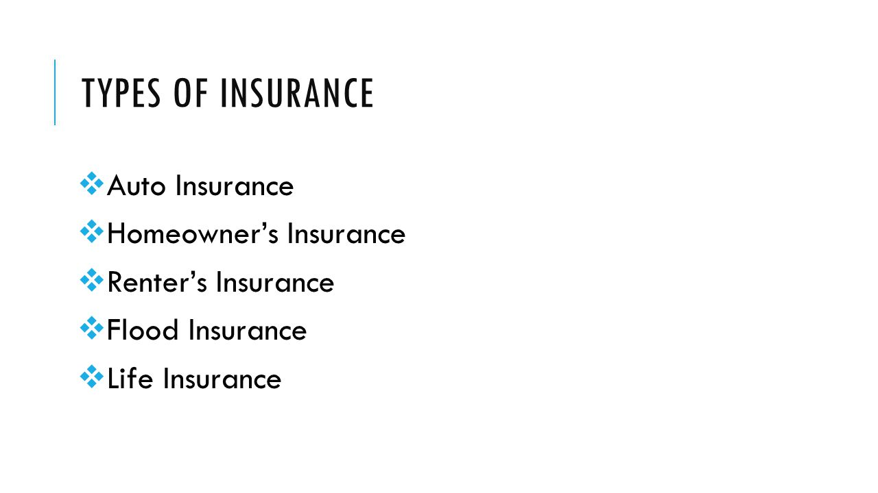 TYPES OF INSURANCE  Auto Insurance  Homeowner's Insurance  Renter's Insurance  Flood Insurance  Life Insurance