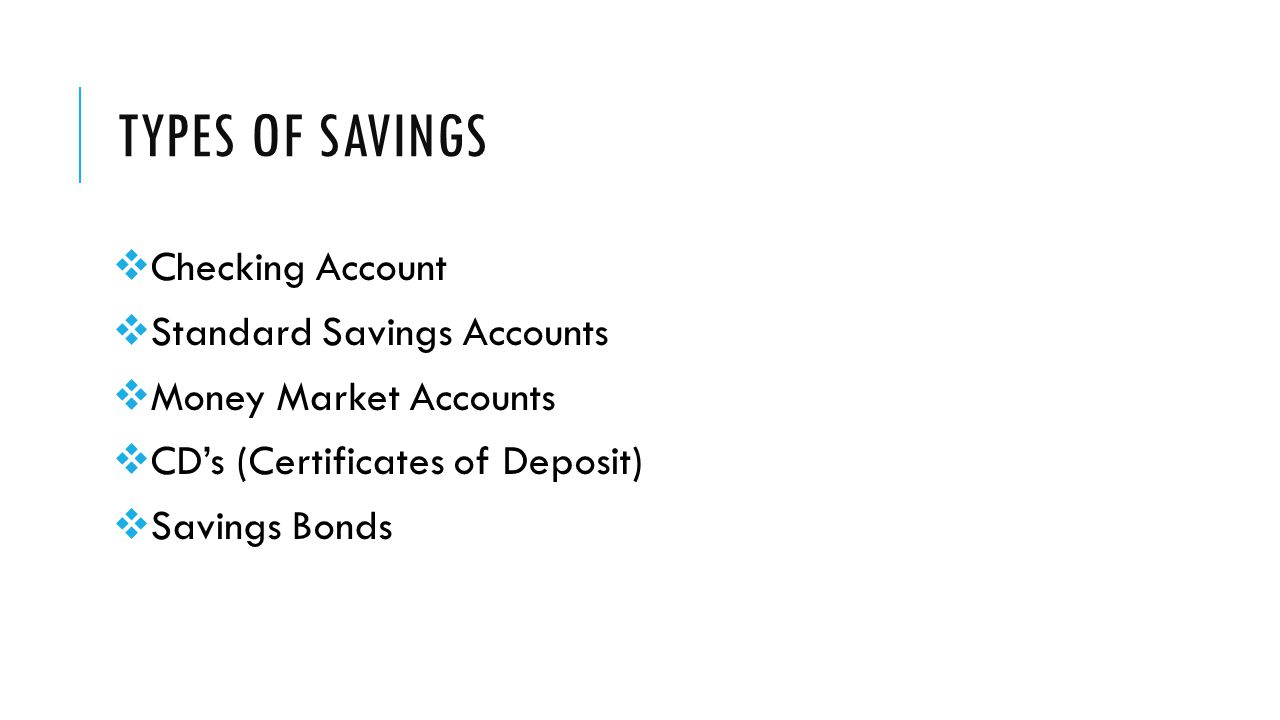 TYPES OF SAVINGS  Checking Account  Standard Savings Accounts  Money Market Accounts  CD's (Certificates of Deposit)  Savings Bonds