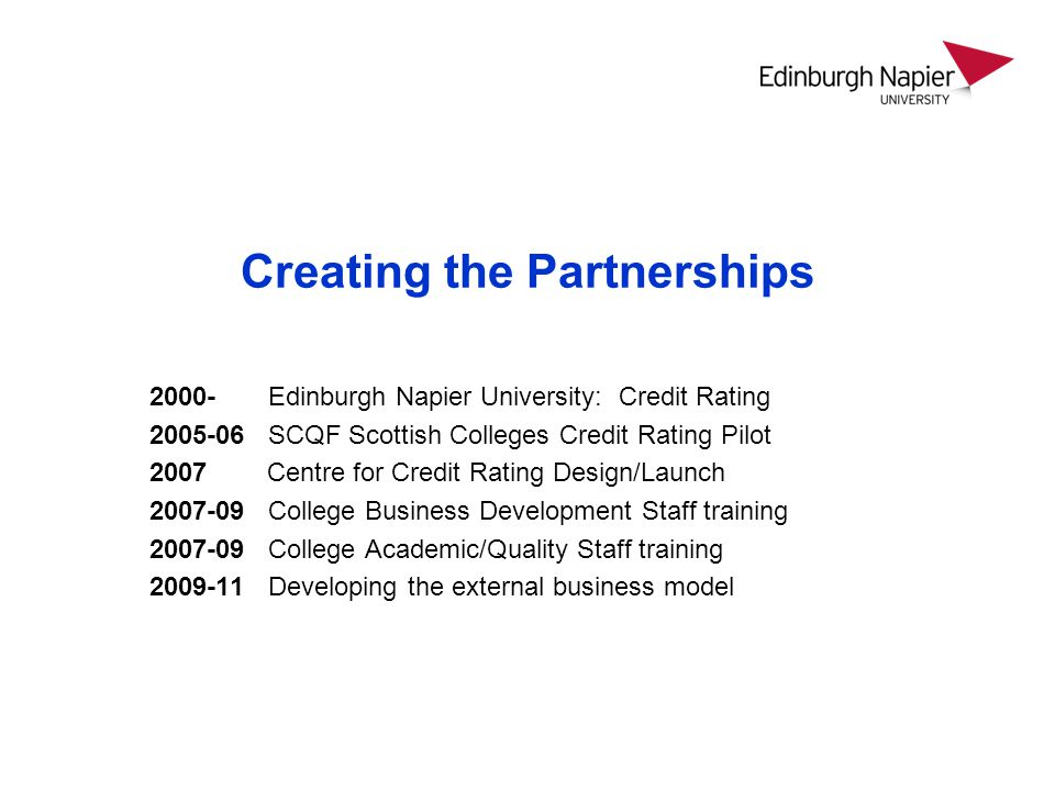 Creating the Partnerships Edinburgh Napier University: Credit Rating SCQF Scottish Colleges Credit Rating Pilot 2007 Centre for Credit Rating Design/Launch College Business Development Staff training College Academic/Quality Staff training Developing the external business model
