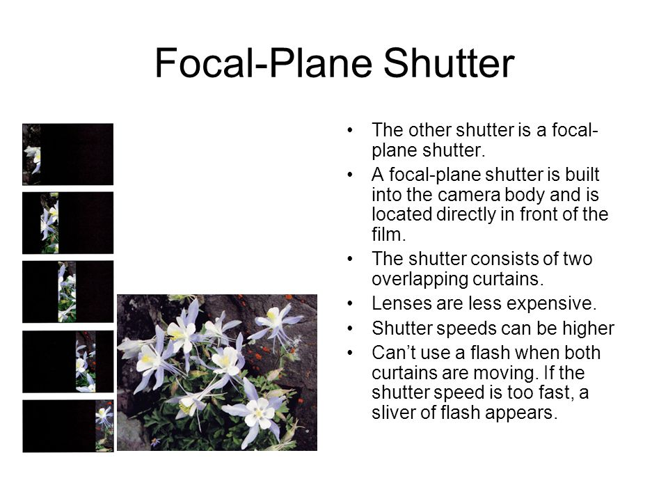 Focal-Plane Shutter The other shutter is a focal- plane shutter.