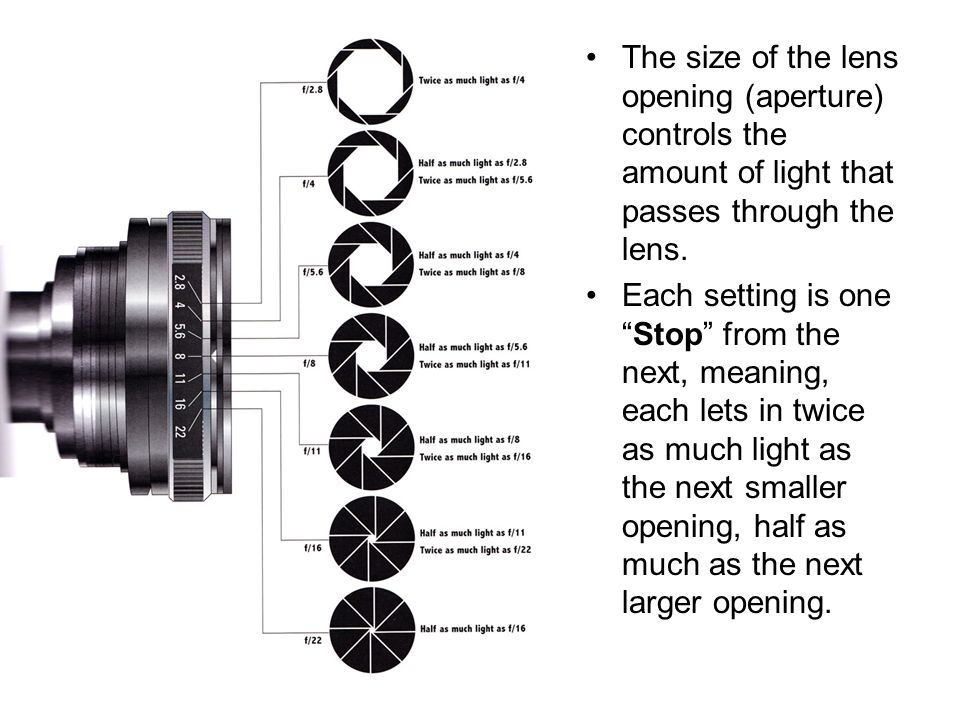 The size of the lens opening (aperture) controls the amount of light that passes through the lens.