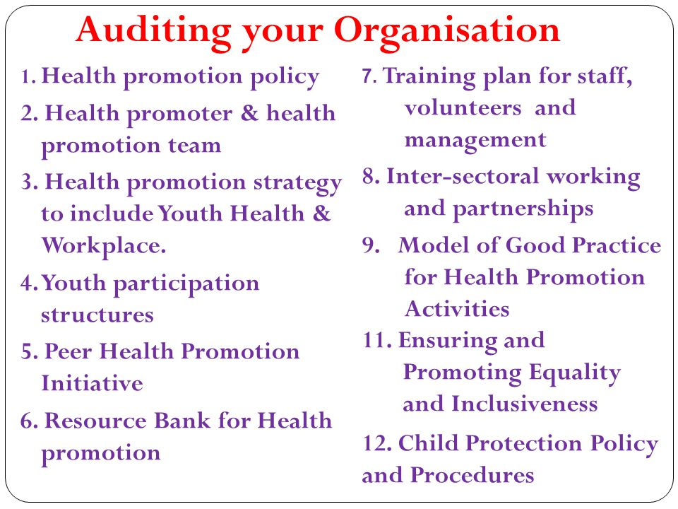 Auditing your Organisation 1. Health promotion policy 2.