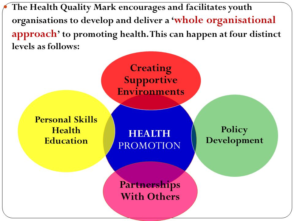 The Health Quality Mark encourages and facilitates youth organisations to develop and deliver a ' whole organisational approach ' to promoting health.