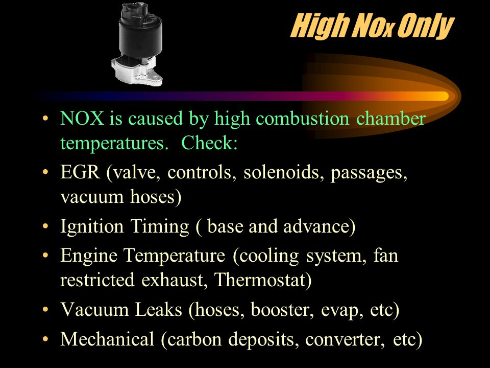 High CO Only Carbon Monoxide is a result of incorrect fuel/air mixtures.