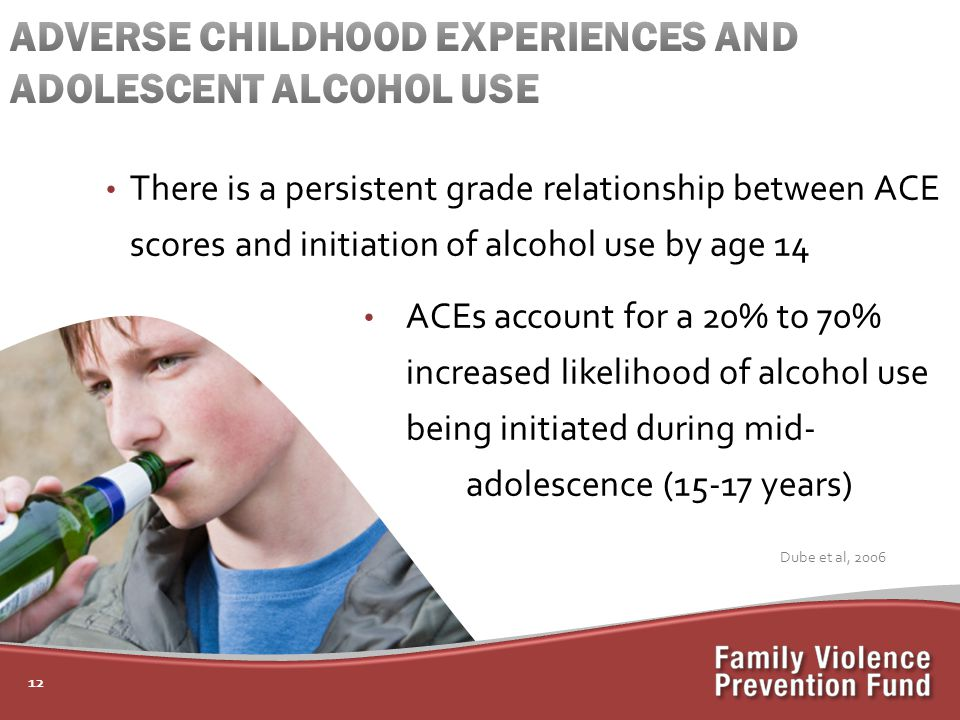 12 There is a persistent grade relationship between ACE scores and initiation of alcohol use by age 14 ACEs account for a 20% to 70% increased likelihood of alcohol use being initiated during mid- adolescence (15-17 years) Dube et al, 2006
