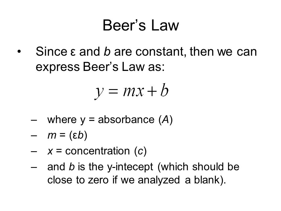 Beer's Law Since ε and b are constant, then we can express Beer's Law as: –where y = absorbance (A) –m = (εb) –x = concentration (c) –and b is the y-intecept (which should be close to zero if we analyzed a blank).