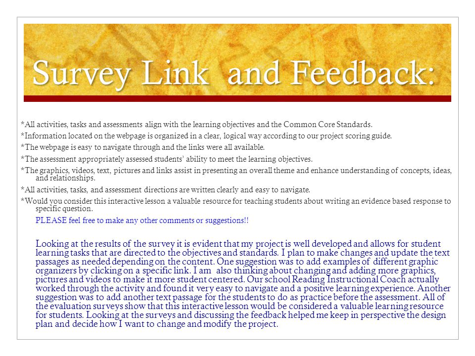 Survey Link and Feedback: Likert Scale Survey Ms.