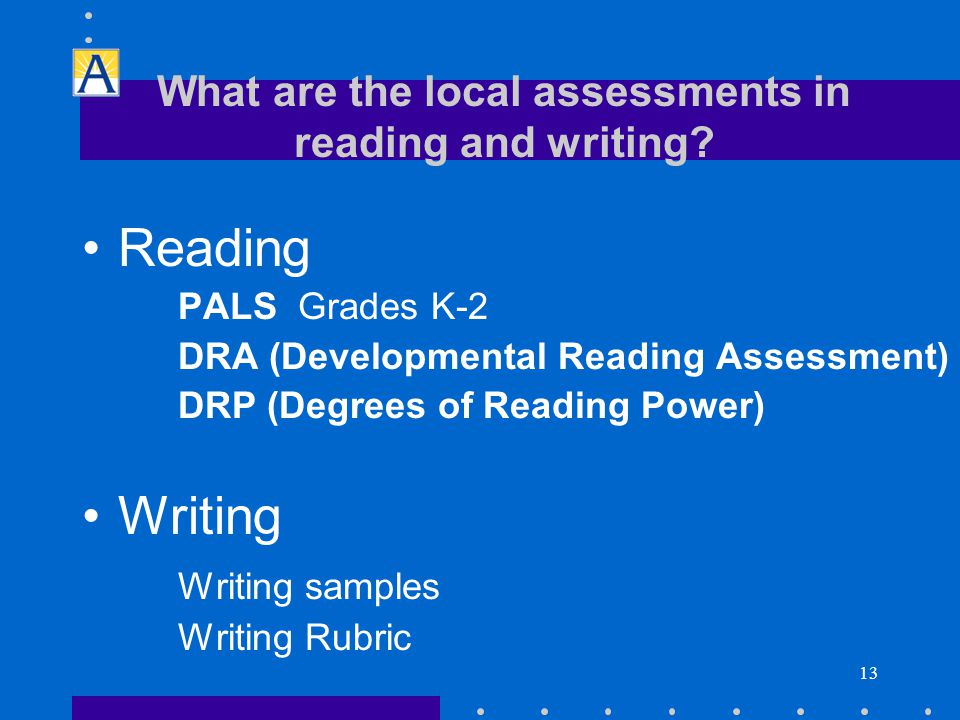 13 Reading PALS Grades K-2 DRA (Developmental Reading Assessment) DRP (Degrees of Reading Power) Writing Writing samples Writing Rubric What are the local assessments in reading and writing