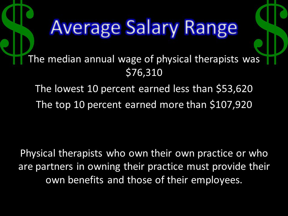 The median annual wage of physical therapists was $76,310 The lowest 10 percent earned less than $53,620 The top 10 percent earned more than $107,920 Physical therapists who own their own practice or who are partners in owning their practice must provide their own benefits and those of their employees.