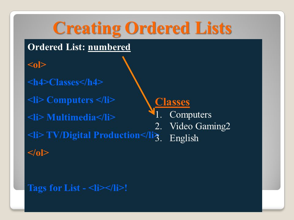 Creating Unordered Lists Unordered List: uses bullets Classes Computers Multimedia TV/Digital Production Tags for List - .