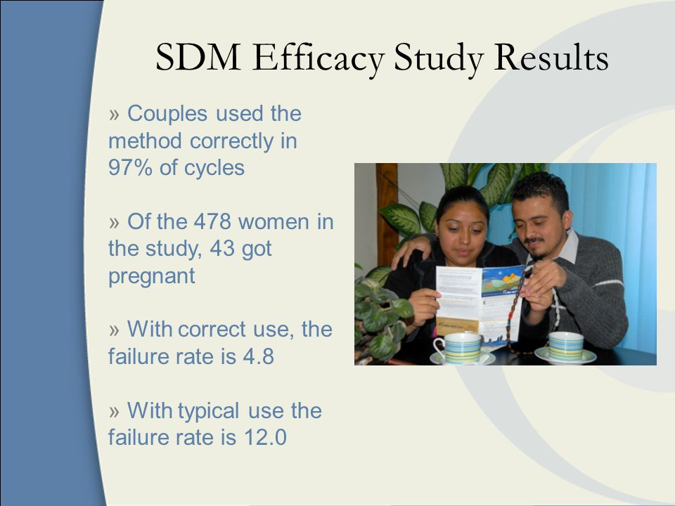 SDM Efficacy Study Results » Couples used the method correctly in 97% of cycles » Of the 478 women in the study, 43 got pregnant » With correct use, the failure rate is 4.8 » With typical use the failure rate is 12.0