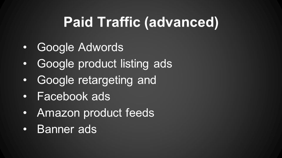 Paid Traffic (advanced) Google Adwords Google product listing ads Google retargeting and Facebook ads Amazon product feeds Banner ads