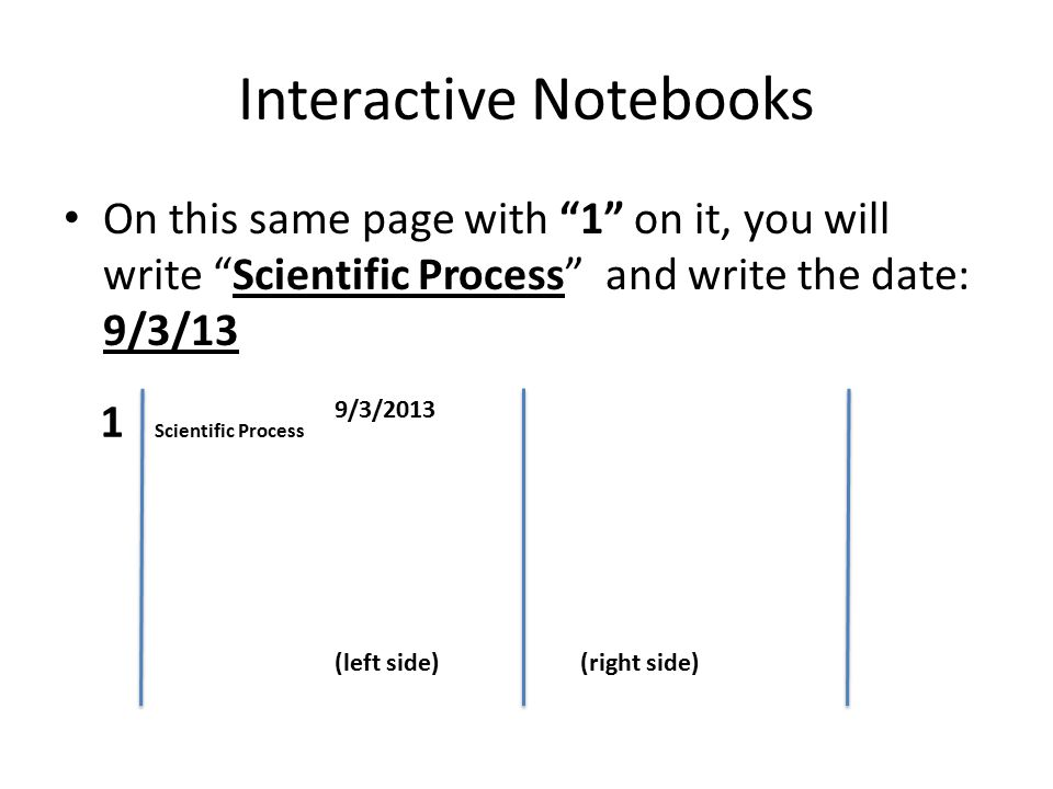 Interactive Notebooks On this same page with 1 on it, you will write Scientific Process and write the date: 9/3/13 11 Scientific Process 9/3/2013 (left side) ( (right side)