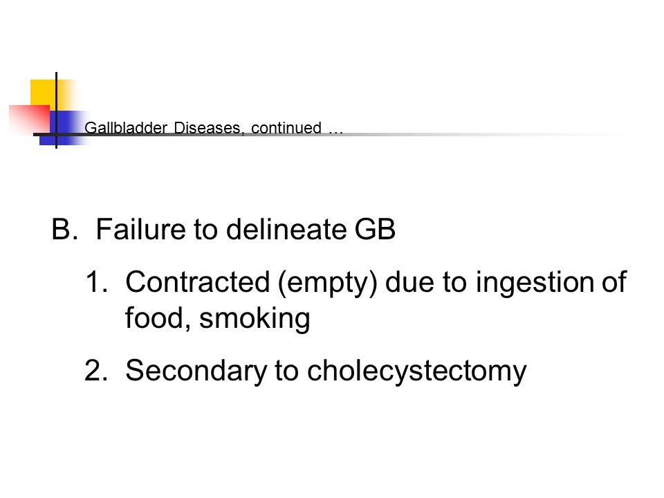 Gallbladder Diseases, continued … B. Failure to delineate GB 1.