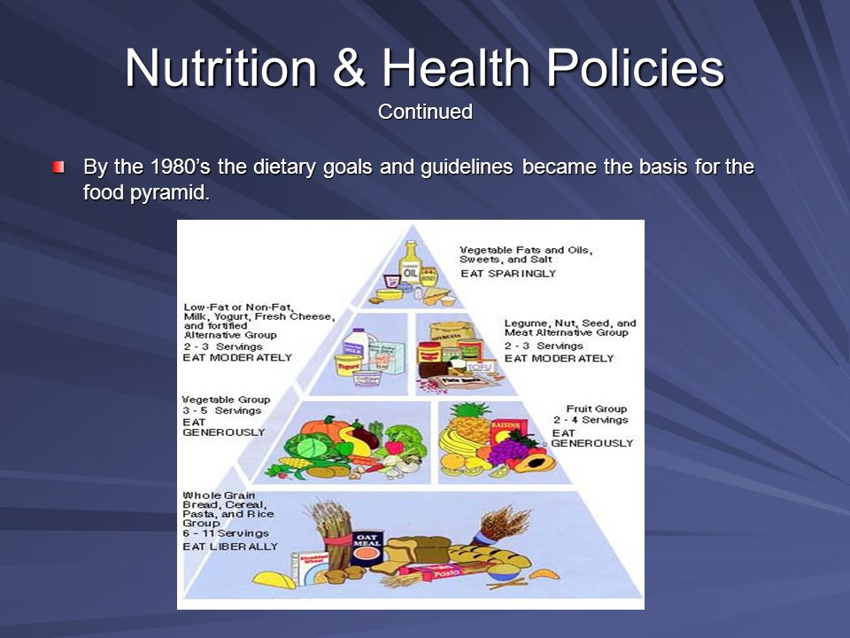 Nutrition & Health Policies Continued By the 1980's the dietary goals and guidelines became the basis for the food pyramid.