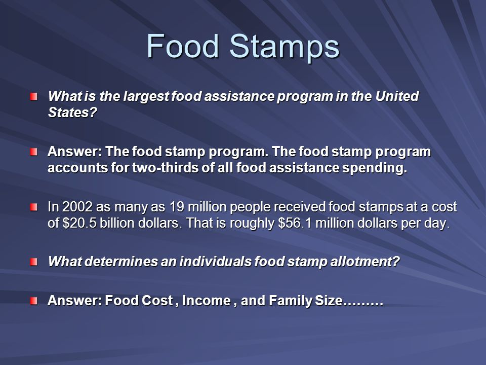 What is the largest food assistance program in the United States.