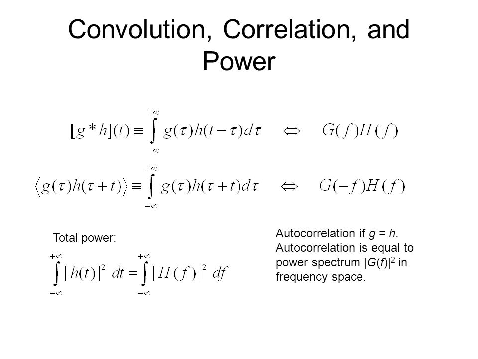 Convolution, Correlation, and Power Autocorrelation if g = h.